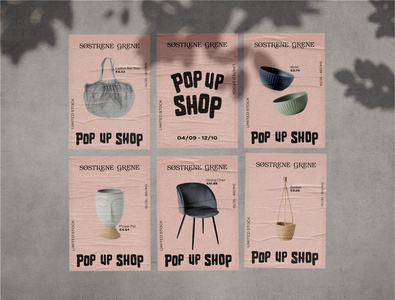 Søstrene Grene Pop up Shop event flyer print design vector poster minimal flat typography illustrator design