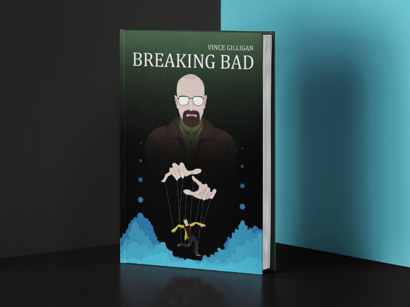 Breaking Bad book cover tv series poster tv series marionette book cover book heisenberg meth jesse pinkman villain bald amc studio walterwhite breakingbad breaking bad walter white character illustrator illustration flat illustration 2d