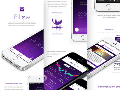 Pillow On Behance sleep app ios iphone flat minimal custom design sleep monitoring sleep tracking