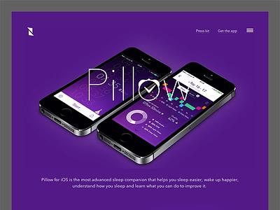 Pillow New Website website web design app ios sleep tracking purple