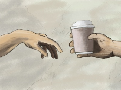 awakening hand coffee cup coffee wacom intuos photoshop illustrator illustration