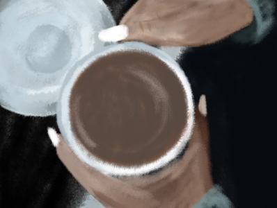coffe 2 coffee cup coffee girl wacom intuos photoshop illustration