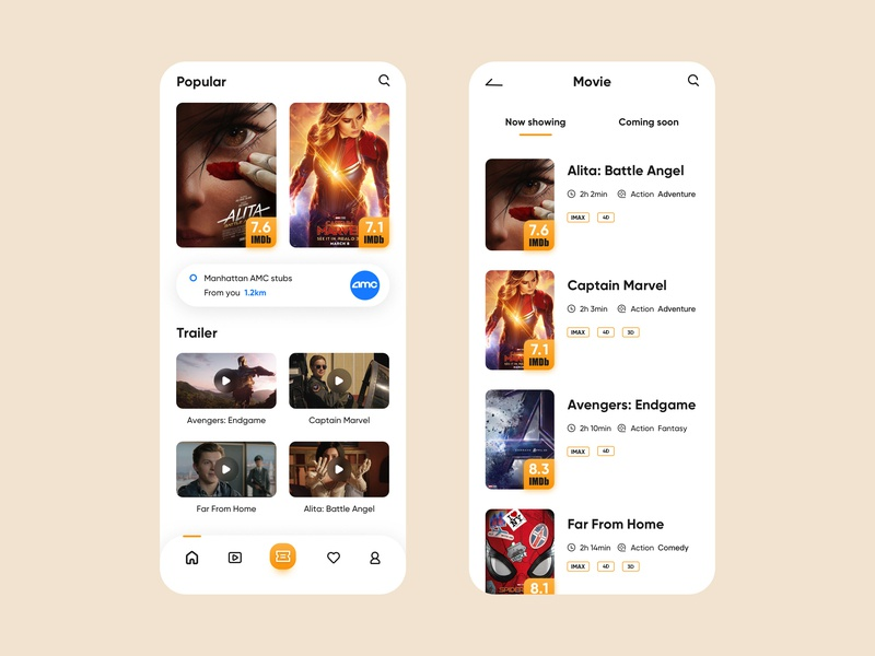 Movie booking application by SimaYip on Dribbble