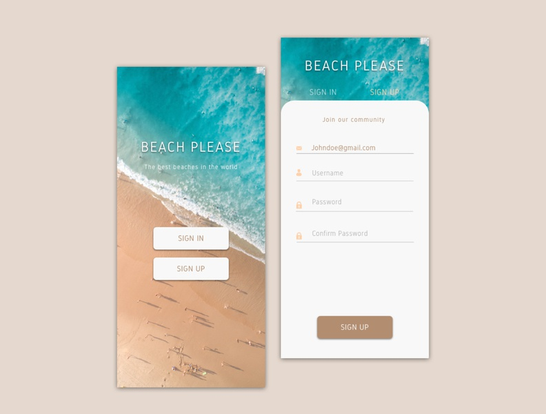 Beach please - Daily UI 001 Challenge