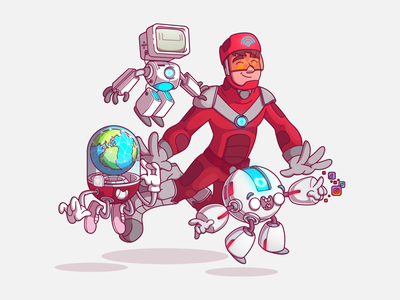 Visão Net Team visaonet team vector flat color design character fun sao paulo brazil campinas thunder rockets illustration