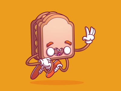 Peanut butter sandwich uiux illustration design dribbble vector color fun character brazil sao paulo thunder rockets
