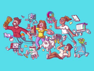 Come together ! ui ux cool vector color flat fun character illustration brazil sao paulo thunder rockets