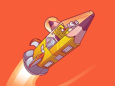 Vectober day 009 - Rocket vectober2020 cool color flat vector illustration fun character brazil sao paulo thunder rockets