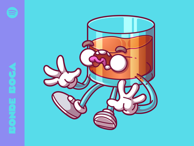 Whiskey vector flat color character fun podcast sao paulo brazil illustration food thunder rockets