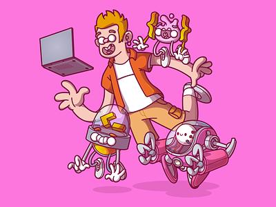 The computer guy ui ux vector cool color flat illustration fun character brazil sao paulo thunder rockets