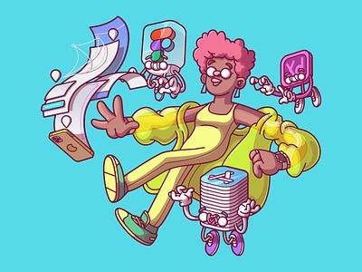 UI/UX ux ui cool fun flat vector color illustration character brazil sao paulo thunder rockets