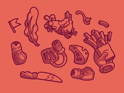 Bob-o's Cheesesteaks details cool color flat vector fun character illustration brazil sao paulo thunder rockets