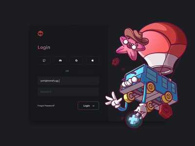 Login Screen, Welcome to Metafy. fun character ux ui cool color illustration brazil sao paulo thunder rockets