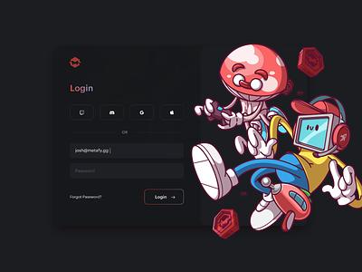 Metafy Universe, Login Screen. illustration color ux ui cool fun character brazil sao paulo thunder rockets