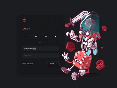 Login Screen of Metafy. cool ux ui fun character color illustration brazil sao paulo thunder rockets