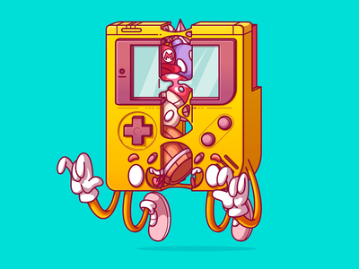 Slapstastick Classic Game games super mario mario nintendo gameboy game vector food dribbble cool color flat character fun design sao paulo brazil campinas thunder rockets illustration