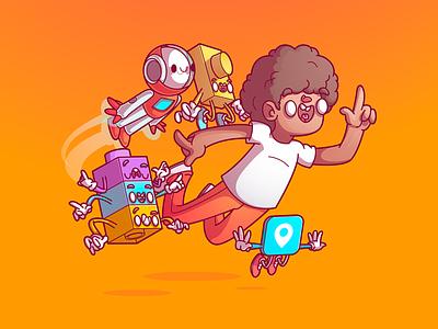 Inovac a o Mindschool cool color flat ui character fun design campinas thunder rockets illustration