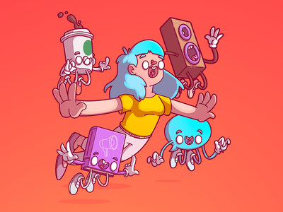 Comunicac a o Mindschool dribbble cool color fun design brazil thunder rockets vector character illustration