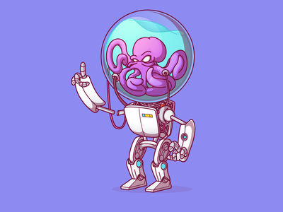 Vectober Day 25 - Robots vectober2019 dribbble vector cthulhu octopus flat fun color cool character illustration thunder rockets campinas sao paulo brazil