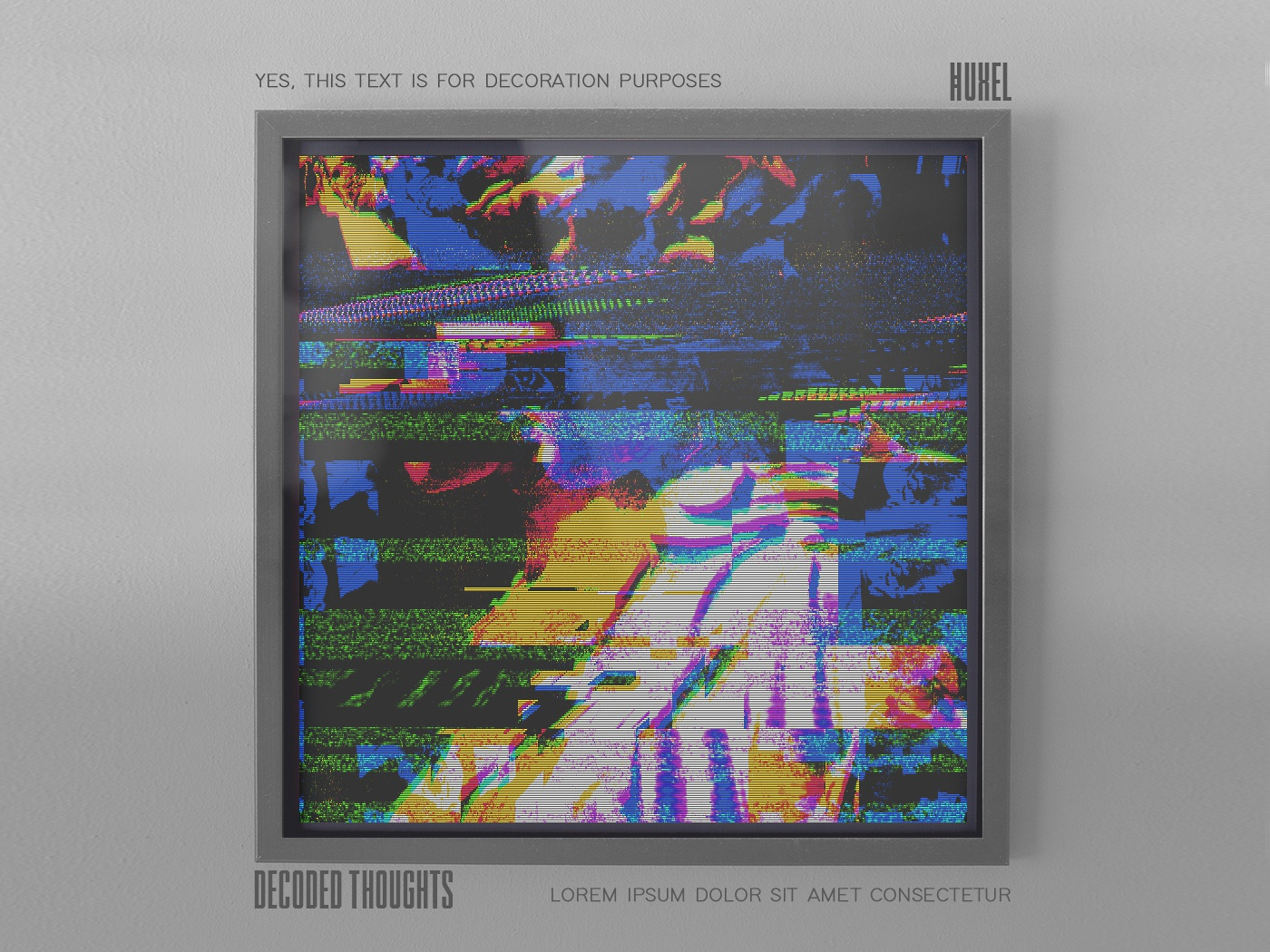 Decoded Thoughts psychedelic trippy futuristic framed aesthetic glitch abstract illustration artwork