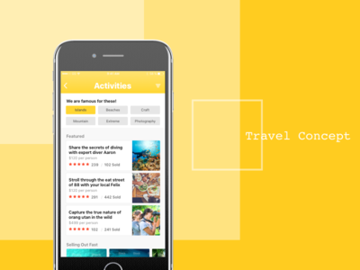 Travel Concept - Activities #1 filter reviews cards sales tourism mobile ios app travel