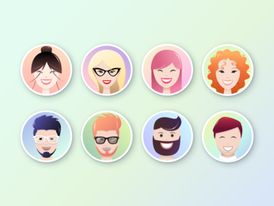 Set of avatars with smiling faces