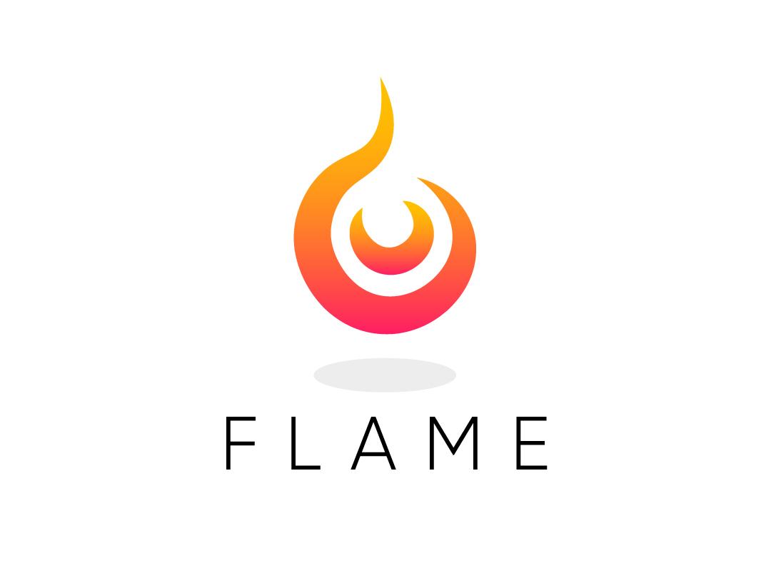 Flame branding vector minimal flat logo icon design