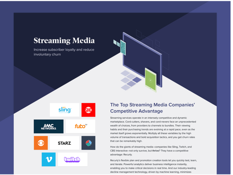 Recurly for Streaming Media Page landing page ott streaming service web design webdesign web recurly fintech design