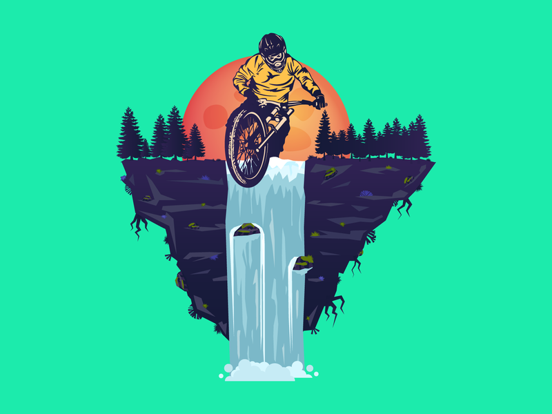 Droppin' in! waterfall roots sun moon forest flatland flatearth illustration downhill enduro stickermule mtb