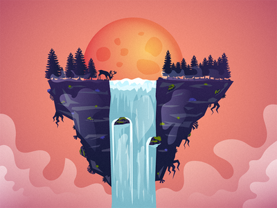 Floating Land forest trees mountain rocks shades clouds purple oranger crater moon sun drinking deer water waterfall island floating island land floating float