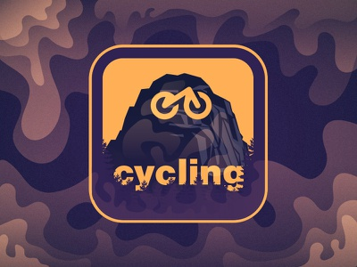 Cycling can be an answer clean elegant minimal style trees harmony clouds yellow orange mountain bike mtb cycling design illustration night dark smooth purple color