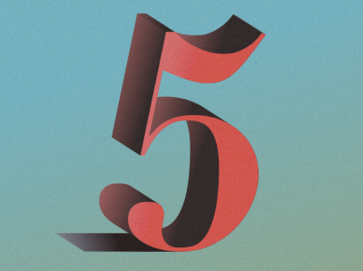 Five colors illustration lettering typography