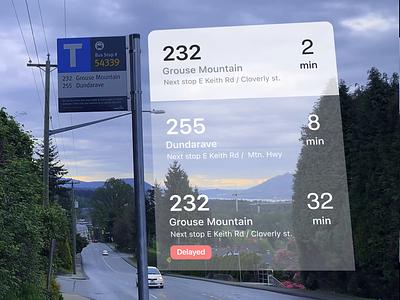 Bus stop A/R concept video minimal vector app design ux ui virtual virtualreality signage typogaphy augmentedreality augmented