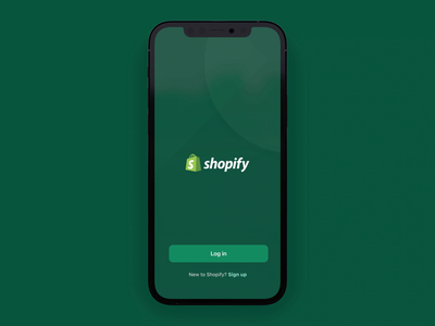Shopify Mobile Welcome Screen animation motion design ios mobile minimal clean ux vector flat app branding typography