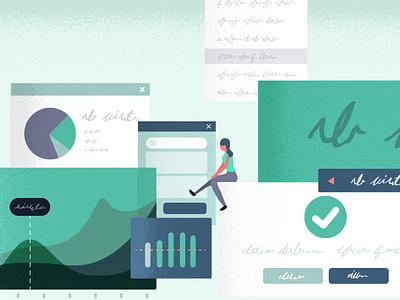 On the edge of greatness minimal web logo vector icon app blue typography flat branding art illustration design