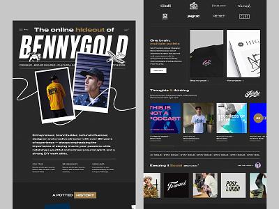 Benny Gold (2/2) | Homepage Concept streetwear portfolio benny gold minimal webpage header ui ux website design web design website homepage