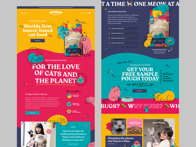 Lovebug | Homepage Concept shopify store kibble cats illustration e-commerce shopify cat food webpage header ui ux website design web design website homepage