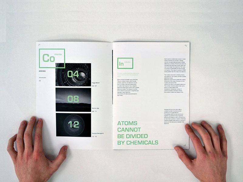 Portion of Physics   Editorial text content spread twotone minimal atoms science layout magazine book editorial