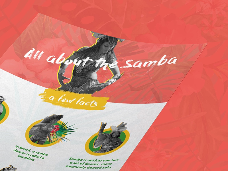 All about the samba | Infographic white samba infographic header flowers festival exotic dancer colour carnival brush brazil