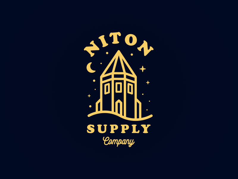 Niton Supply Co | Pepperpot urban streetwear street simple navy logo linework lifestyle illustration gold building brand