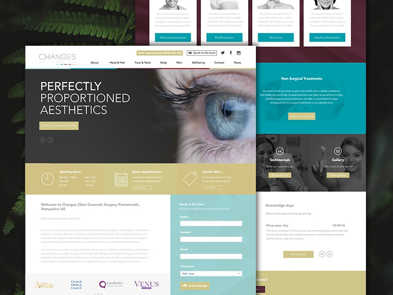Changes Clinic | Homepage webdesign womens website webpage ux skincare layout grid ui daily cosmetic clinic