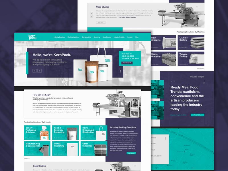 Kernpack | Homepage website factory business bulk website design ux ui design packaging homepage webpage