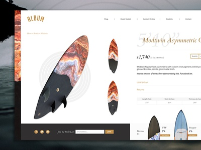 Album Surfboards | Product Page Concept