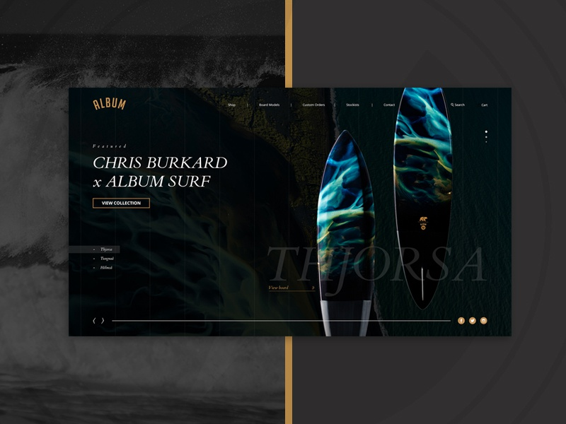 Album Surfboards | Homepage Concept home interaction e-commerce shop full screen homepage. slider surf website surfing ui ux website homepage