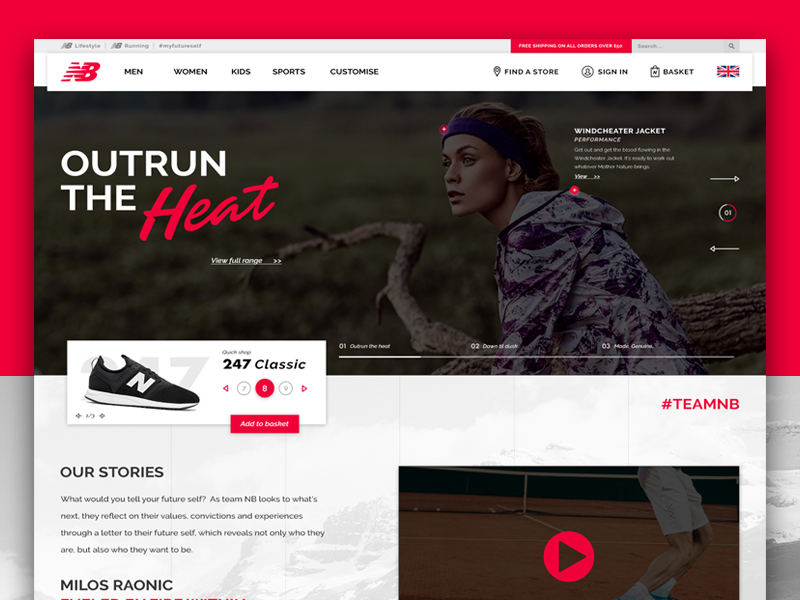 New Balance | Homepage Concept slider header product page footwear ux ui concept shop homepage e-commerce webpage new balance