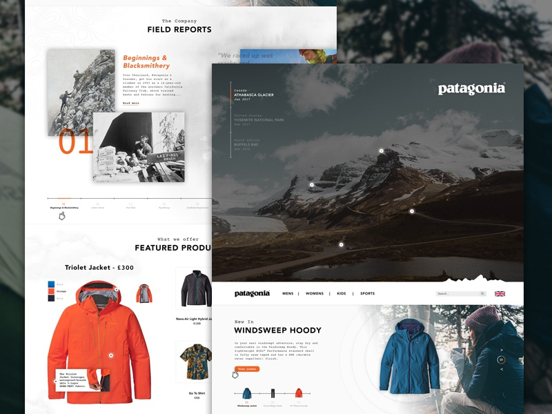 Patagonia | Climbing Concept website deisgn webpage shop front e-commerce hiking gif homepage ux ui camping outdoors patagonia