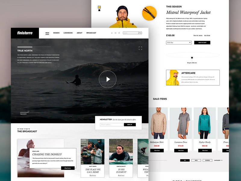 Finisterre | Homepage Concept surfing ocean surf concept site website design outdoors shop e-commerce header finisterre website homepage