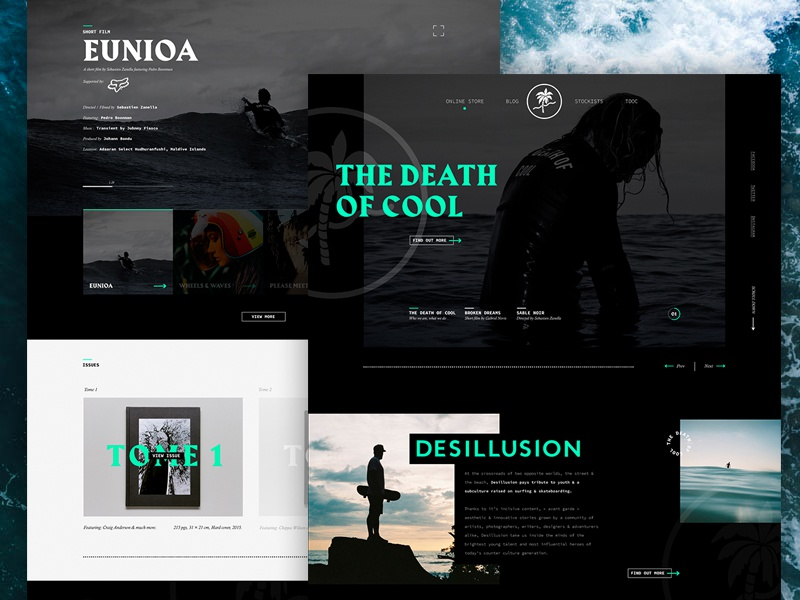 Desillusion Magazine | Homepage minimal black product page blog surfing skate surf desillusion magazine webdesign sports website website