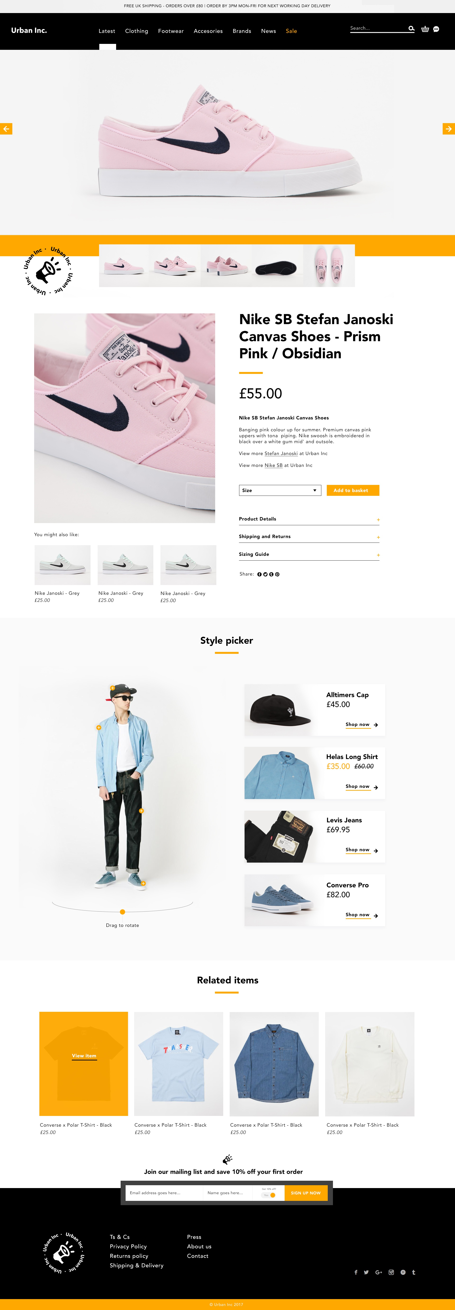 Store website product