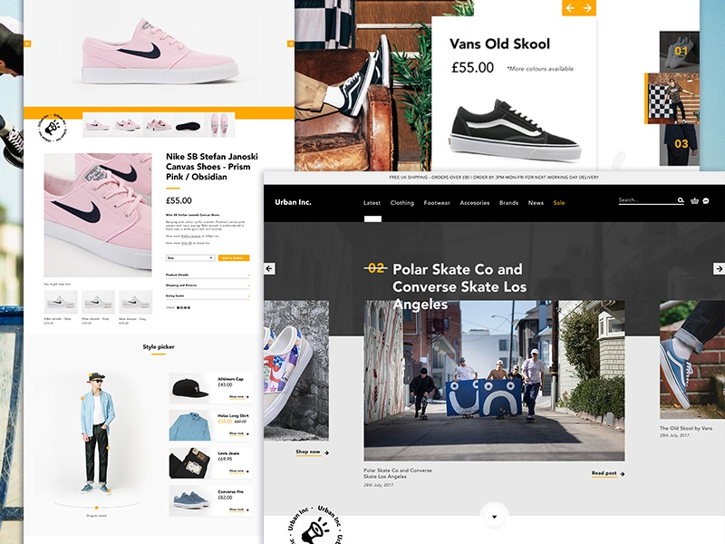Urban Inc | Streetwear store ux ui chatbot homepage website design mobile skateboarding vans nike shop website streetwear